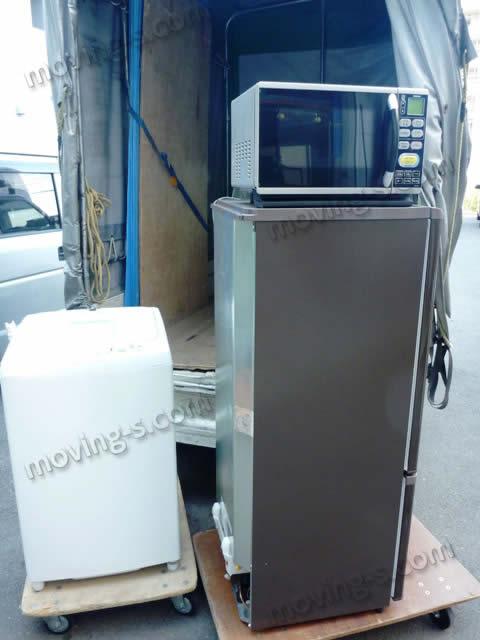 リサイクルショップで購入した洗濯機、冷蔵庫、電子レンジ
